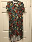 NWT Small Lularoe Carly Dress Floral Bee Black Orange Yellow Red