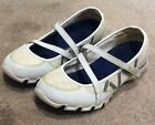 Sketchers Womens White Leather Cross Strap Mary Janes Flats Size 7 Blue Green