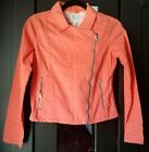The Childrens Place zip up girls jacket coral pink polka dots size XL 14 NWT