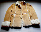 Abercrombie  Fitch suede leather winter coat women light tan  white fur SMALL