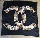 Authentic RARE vintage CHANEL 100 silk large CC Logos Jewelry scarf MUST SEE