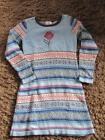 Hanna Andersson adorable girls blue red ivory sweater dress Euro 130 US 8 10