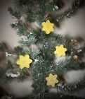 12 BEESWAX FEATHER TREE CHRISTMAS SNOWFLAKE Ornaments..made from PURE BEESWAX