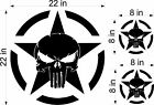 22 Punisher Army Star decal Vinyl military hood graphic body Jeep Dodge