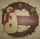 PRIMITIVE COUNTRY SNOWMAN WREATH WINTER~CHRISTMAS