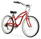 26-Inch Red Firmstrong Urban Lady Seven Speed Beach Cruiser Bicycle