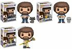 Funko Pop! Bob Ross Hoot Chase with Raccoon and Paintbrush Set of 3 w Protector