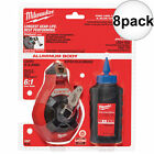 Milwaukee 48-22-3992 8pk 100' Fine Line Chalk Reel (Fine Line) w/ Blue Chalk New