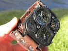 Bison Leather wristband cuff bracelet hot cool  Men Watch nice gift Steam punk