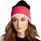 Kate Spade Womens Beanie Hat Zip Up Colorblock Knit Black Pink White One Size