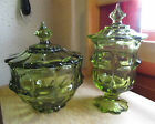 1960s Fenton Art Glass Valencia Colonial Green Lidded Candy Dish