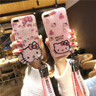 Bling For iPhone Xs Max 8 7 Glitter Cute Hello Kitty Case Sparkle KT Strap Cover