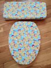 Girly Girl Rubber Duckies Ducky Bath Decor Elongated Toilet Seat Lid Cover Set