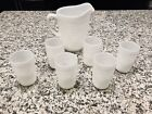 Anchor Hocking White Milk Glass Hobnail Pitcher and Tumbler Set