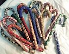 Primitive Wrapped Candy Canes/Christmas /Plaid Homespun Fabric Wrapped/Set of 10