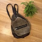 Vintage Hammer Mann Leather Shearling Brown Boho Backpack Purse