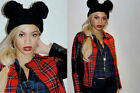 Celebrity Mouse Ears Beyonce 2 Pom Pom Black Beanie Womens NEW