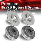 Front + Rear Brake Rotors  Drums 4 PCS For 1988 1992 Toyota Corolla