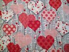 1 4 Yard Red Pink Dotted Valentine Hearts Fabric Quilting 100 Cotton