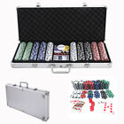 5 Color Holdem Casino 500 Dice Poker Chips Clay Set Aluminum w Carry Case Texas