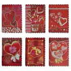 Valentines Day 24 Pcs Greeting Cards Glitter Mini Hearts With Red Envelopes
