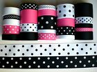 23 YARDS GROSGRAIN RIBBON MIXED LOT POLKA DOTS PRINTED REF 09