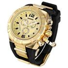 SHHORS Brand Sport Military Watch Big Dial Army Watch Rubber Band Luxury Golden