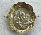 Antique European Silver Double Handled Dish Bowl w/ Hiker in Relief