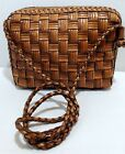 Vintage CEM Tri Color Brown Braided Woven Leather Crossbody Zip Around Small Bag