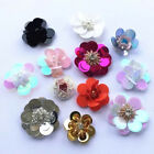 1Pc 3D Sequin Flower Shape Applique Beaded Rhinestone Handmade DIY Sewing Decor