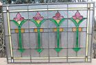 VINTAGE ANTIQUE STAINED GLASS WINDOW W HANGING CLIPS 30X20 MUST SEE !!