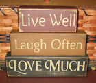 PRIMITIVE COUNTRY LIVE WELL, LAUGH OFTEN, LOVE MUCH 3pc block set