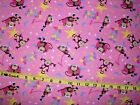BTY 605 monkey slumber party pink Fabric Flannel Material New Sold by the yard