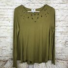 Old Navy Long Sleeve Blouse Top Laser Cut Womens Olive Green Size Medium