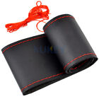 Blackred Genuine Leather Diy Car Steering Wheel Cover With Needles And Thread