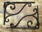 set of 2 Large antique style Cast Iron Decorative Scroll Shelf Brackets #08