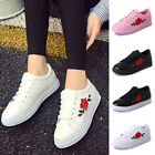 2018 Womens Fashion Leather Rose Flower Casual Lace Up Sneakers Trainer Shoes