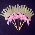 24PCS Gold Glitter Crown Cupcake Toppers Wedding Picks Party BABY SHOWER Gift