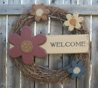 PRIMITIVE COUNTRY FLOWER WELCOME WREATH