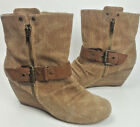 ALDO shoes 6 US 36EU brown canvas wedge heel ankle boots strap detail