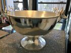Vintage Hammered Metal Silver Plated Bowl with Deer Stag Head Handles