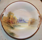 Vintage Morimura Nippon Moriage BOWL with HANDLES--Lovely Country Castle Scene