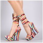 Liliana CASANDRA 34 Graphic Multi Print Satin Open Toe Tie Up Platform Wedge