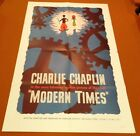 MODERN TIMES Rare 50s Film Reissue CHARLIE CHAPLIN Silent Movie ONE SHEET POSTER