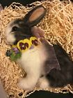 R John Wright RJW Pansy Candy Container NRFB Bunny Very Nice