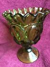Vintage  L.E. Smith Green Glass Moon And Stars ruffled top  vase Emerald Green