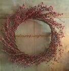 Primitive Country Pip Berry Wreath Christmas Red ~ 10