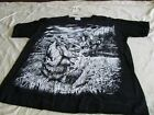 Black  White DBL Sided Large T Shirt Grizzly Bear Hunters Vtg 90s Cotton