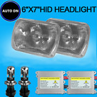 2pcs H4 HID Light Bulbs 7x6 Square Headlight 10000K Cool Blue For Jeep Wrangler