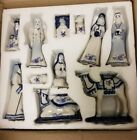 Kurt Adler 197 Inch by 67 Inch Porcelain Delft Blue 11 Piece Nativity Set